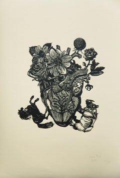 """Engraving on paper of Jessica Pliez """"Painted black""""."""