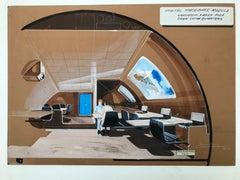 """Raymond LOEWY """"Orbital spacebase module"""" Pastel 1970"""