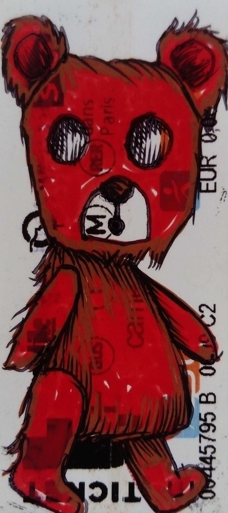 Jessica Pliez Animal Art - The Red Riding Hood Bear