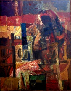 Maternité brune. 1961 . oil on canvas .