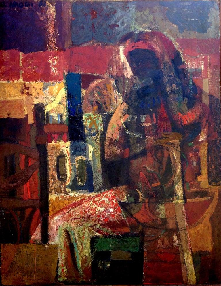 Omar El-Nagdi Figurative Painting - Maternité brune. 1961 . oil on canvas .