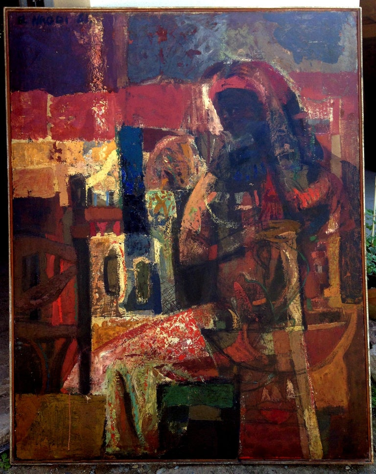 Maternité brune. 1961 . oil on canvas . - Painting by Omar El-Nagdi