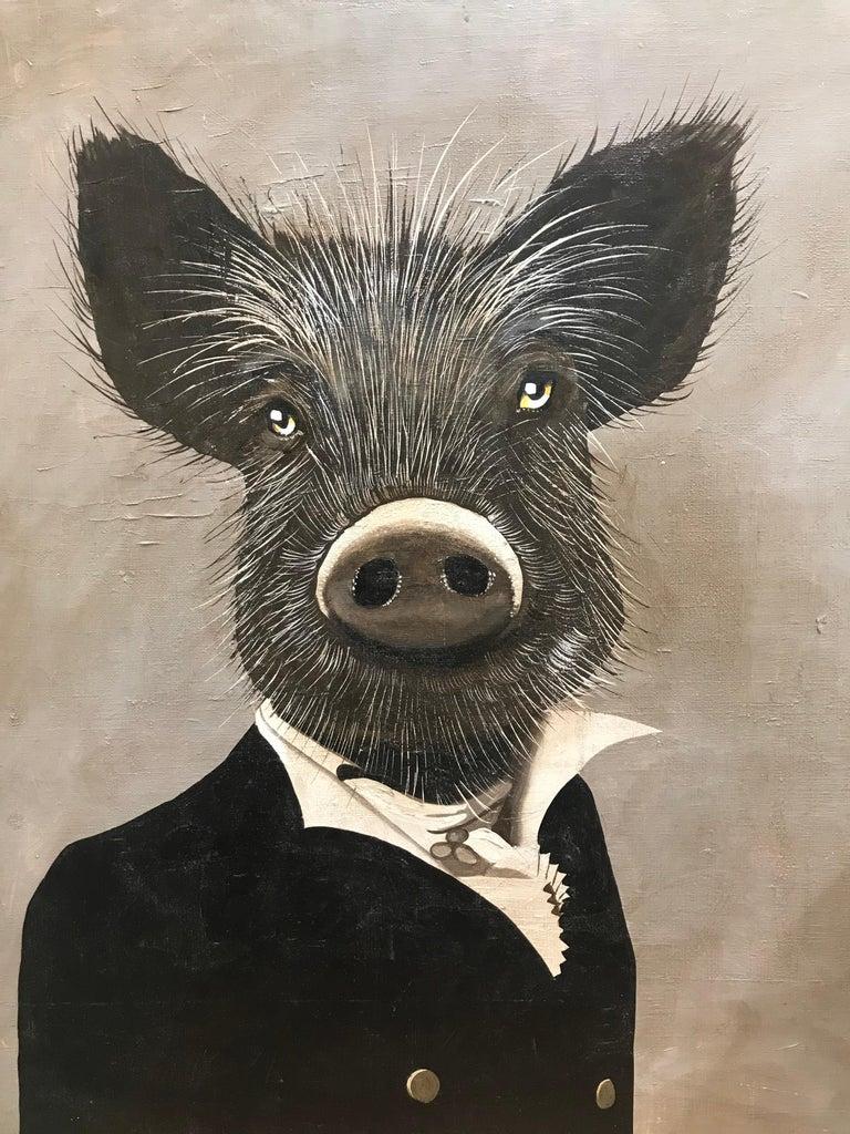 """Unknown Portrait Painting - Petraeus """"Mr sanglier"""""""