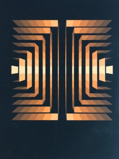 """Yvaral Lithograph """"Sstructure carbogold"""" 1974."""
