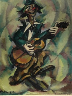 "Oil on canvas by André FAU ""Le clown musicien  1948"""