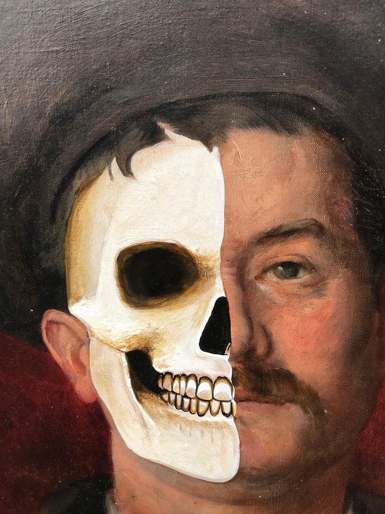 Petraeus Vanitas vanitatis Acrylic/ oil on canvas/ frame 2020 Vanity on 1903 portrait by E Brunet Signed Brunet and dated on the front Signed Petraeus on the back  Size work: 47 x 57 cms Frame size: 79 x 89 cms 1900 euros