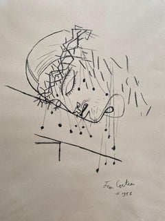 "Jean Cocteau  ""Christ with the crown of thorns"" Charcoal 1956"
