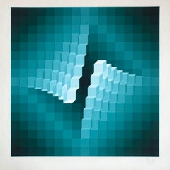 """Yvaral (Jean-Pierre Vasarely) Lithographie Geometrical """"structure 4"""" 1973."""
