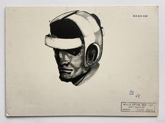 """Helmeted man 1"""" drawing for NASA - Raymond Loewy and William Snaith"""