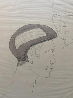"""""""Helmeted man 4"""" drawing for NASA - Raymond Loewy and William Snaith"""
