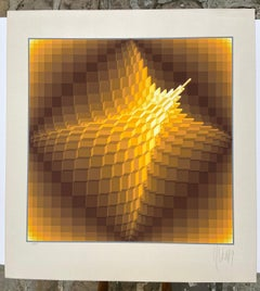 """Yvaral (Jean-Pierre Vasarely) Lithographie """"Pyramid"""" - 1974"""