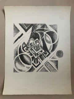 Lithograph Robert Delaunay - Paris, aerial view of the tower - 1926