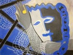 Blue Masquerade - Original Tempera on Paper by Maurice Rouzée - 1940s