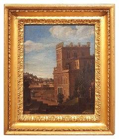 Pair of Views of villa Medici Del Vascello