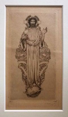 Jesus Christ - 1920s - Sigmund Lipinsky - Drypoint - Modern
