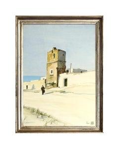 Torre con contadina - XX century - Aldo Riso - Watercolor - Modern