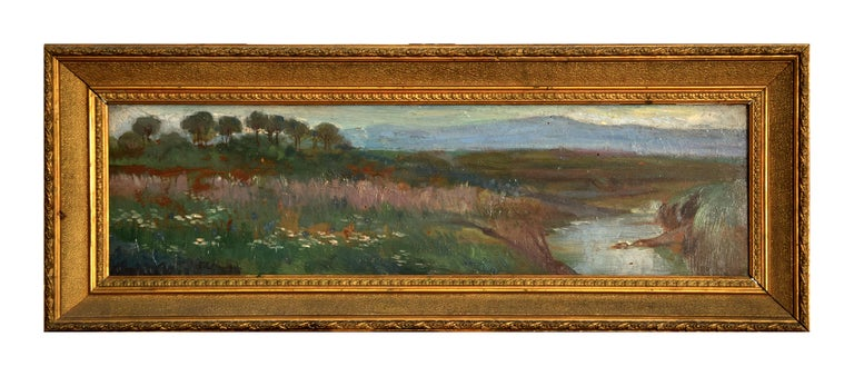 View of the Roman Countryside with Tiber - Enrico Coleman - Oil paint - Modern  - Painting by Enrico Coleman