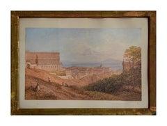 View of Royal Palace at Naples - 19th century - Watercolor - Modern