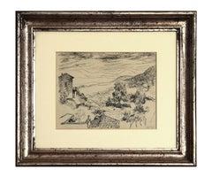 Monte Compatri Village - 20th century - Renato Guttuso - China Ink - Modern