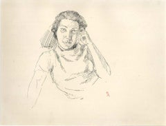 Portrait Of A Woman - 1910s - Ernest Rouart - Drawing - Modern