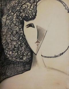 Woman - 1970s - François Chapuis - Pastel - Contemporary