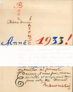 Bonne Année - 1930s - Louis Marcoussis - Painted Manuscript of Best Wishes