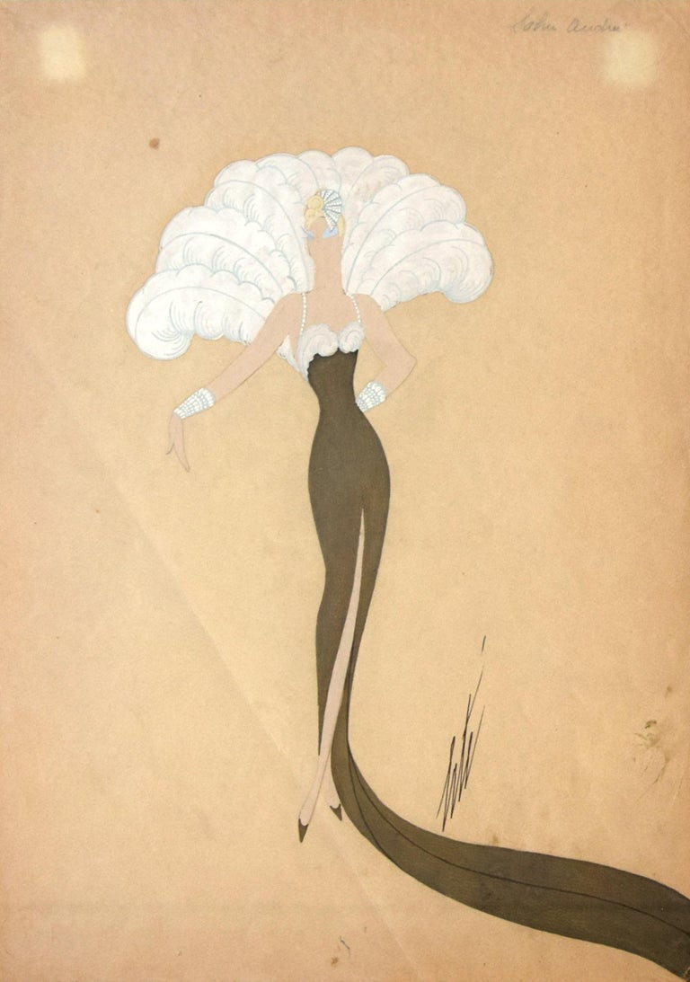 """Miss Tapsy is a very beautiful original drawing realized by the Russian artist Erté. Mixed media (pencil, markers, and tempera) on ivory paper. Hand-signed """"Erté"""" in black ink on the lower right margin. The ivory-colored sheet is in very good"""