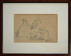 Man With Beret And Lying Man - 1940s - Paul-Franz Namur - Drawing - Modern