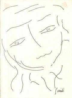 Countess Portrait - 1960s - Virgilio Guidi - Drawing - Modern