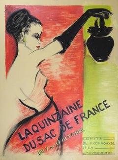 """Study for the Affiche """"La Quinzaine du Sac de France"""" - 1940s - Bernard Bécan"""