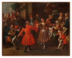 Pair of Scenes of Celebration with Musicians - Oil on Canvas - 18th Century