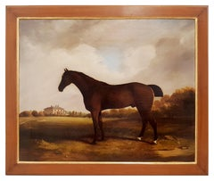 Thoroughbred Horse in the English Countryside - Oil on Canvas - 1847