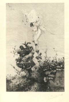 The Butterfly of Fortuny - Original Etching d'Après Mariano Fortuny - 1868
