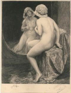 Reflexion - Original Etching by Jules Piel - 1910s