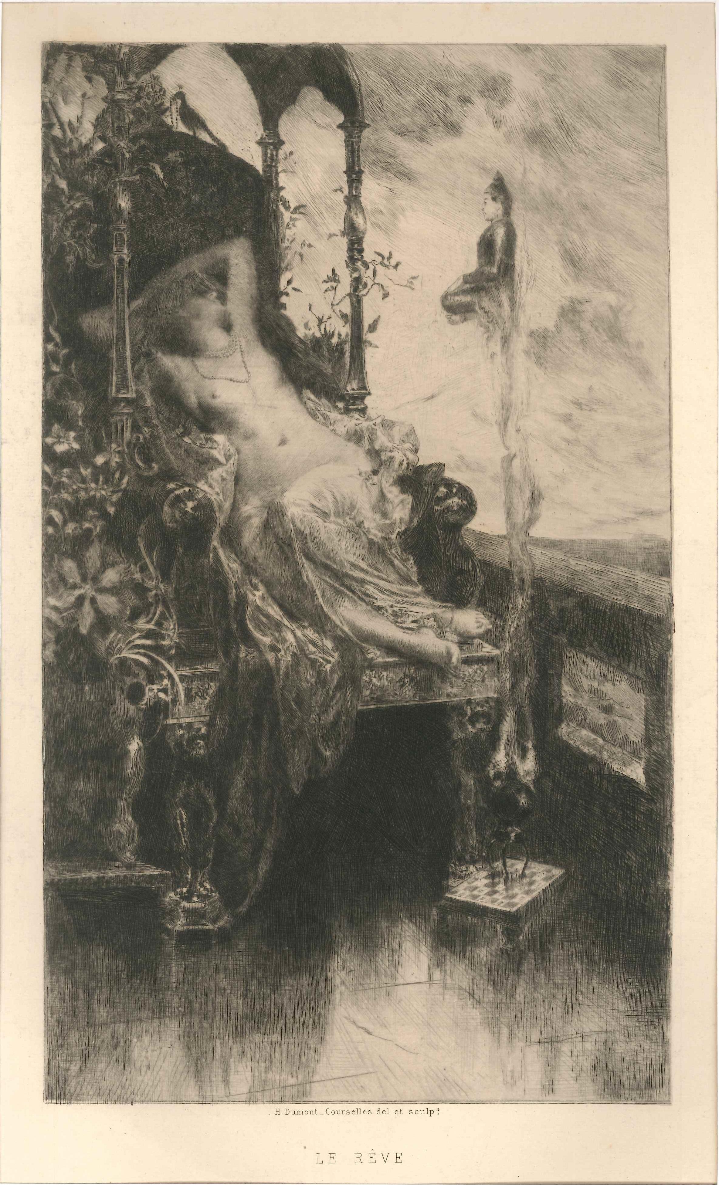 Le Rêve - Original Etching by H. D. Courselles - 1890s