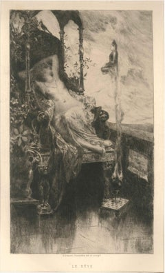 Le Rêve - Original Etching by H. D. Courselles - 1890s
