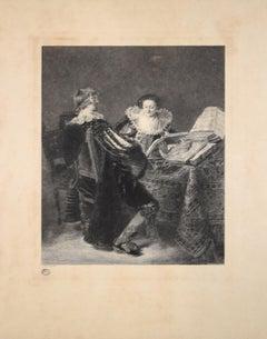 La Leçon de Musique - Original Etching By Georges Henri Manesse - 1892