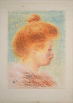 Female Portrait in Profile - Original Color Monotype by Bernard Lemaire