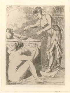 Le dîner - Original Etching by L.-A. Letoureau - End of 19th Century