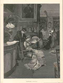 Flirtage - Original Woodcut by F. F. Froment - Late 19th Century