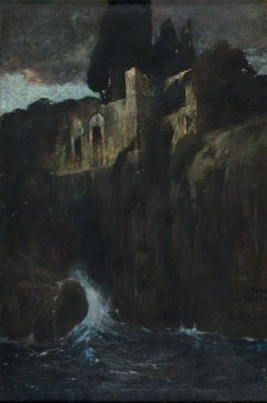 Ruins in front of the Sea - 1900s - Oscar Mendlink - Painting - Modern