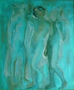 The Three Graces - Isabella Tirelli - 1990s - Oil on Canvas - Contemporary