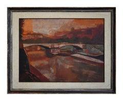 Bridge of Rome - 1970s - Ugo Attardi - Painting - Contemporary