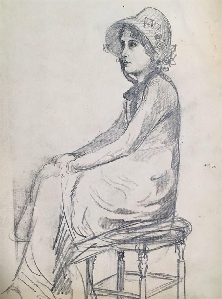 Portrait of a Young Woman - 1900s - René François Xavier Prinet - Drawing