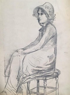 Portrait of a Young Woman - 1900s - René François Xavier Prinet - Drawing