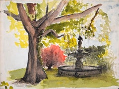 The Fountain in the Garden - Watercolor on Paper - Beginning of 20th Century