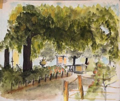 The House and the Garden - Watercolor and Pencil on Paper Early 20th Century