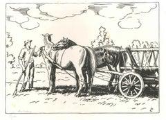 L'Attelage - Woodcut Print by Paul Ledoux - 1929