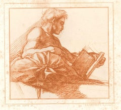Reding Man - Original Lithograph by Auguste Desperet, after Andrea Del Sarto