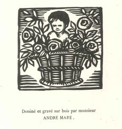 Child in the Flower Basket - Original Woodcut by André Mare - 1918